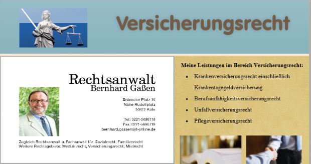 Rechtsanwalt Versicherungsrecht Köln, Krankenversicherungsrecht, Krankentagegeldversicherung, Berufsunfähigkeitsversicherungsrecht, Unfallversicherungsrecht, Pflegeversicherungsrecht